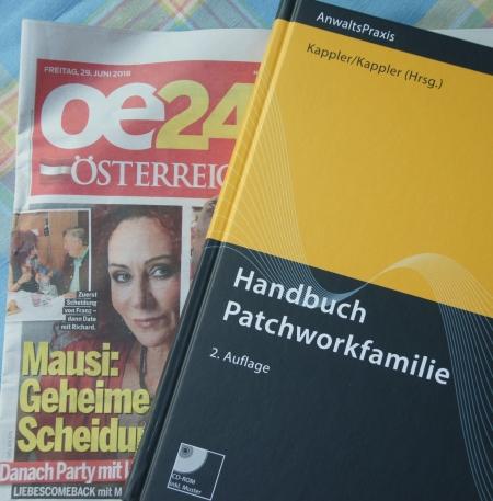 """""""oe24"""" (Zeitung aus Österreich) und Cover Kappler/Kappler, Handbuch Patchworkfamilie"""